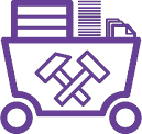 data mining purple icon