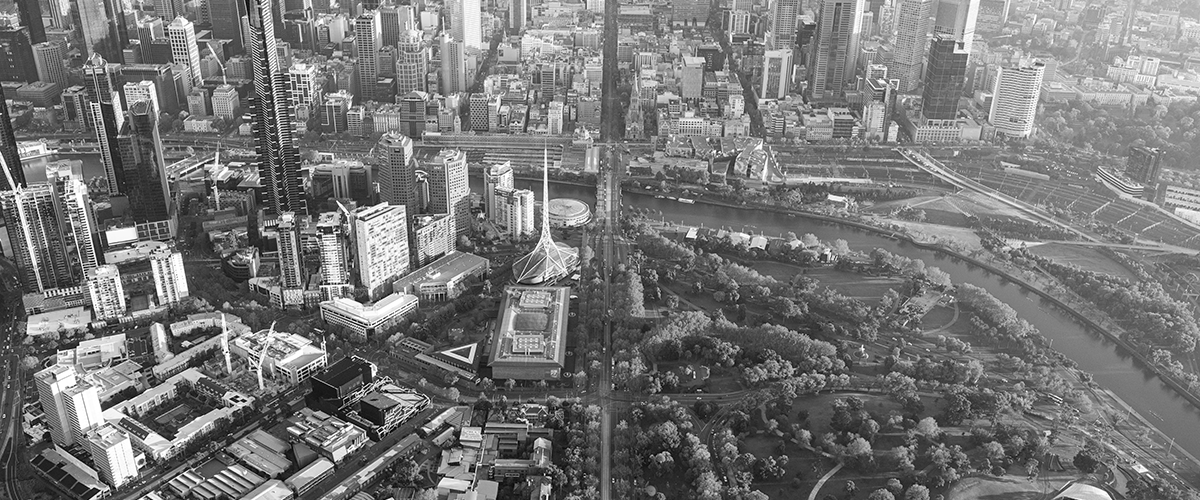 Melbourne 2017 skyline from above