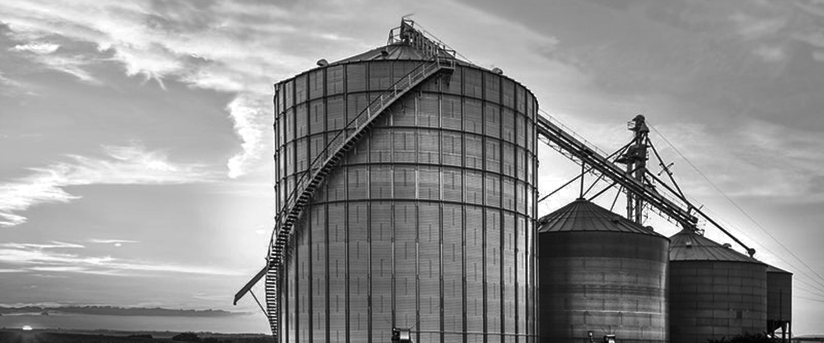 data(s)mart grain silos at sunset